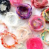 ファンシーヤーン(イタリア素材糸)15種類+アクセサリーパーツ3点セット|引き揃え糸 レジン封入材 ラッピング