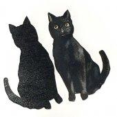 黒猫のウッドパーツ・デコパーツ・木製カボション|アメリカ