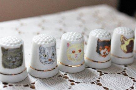 陶器製シンブル  ネコ6種