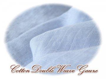 チェック柄二重織 Wガーゼ W巾 ブルー 2M #670