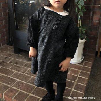 衿付きドロップパフスリーブワンピース | プルオーバーも作れる簡単な子供服型紙