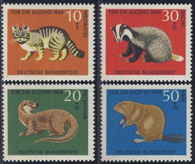 福祉切手 カワウソなど4種 ドイツ'68