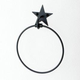 「現品限り定価より500円OFF!」星のアイアンタオルリング(ブラック) TPH-AU007BK