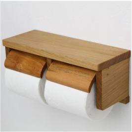 木製棚付き二連トイレットペーパーホルダー 蒼 TN-S-CHRーDT