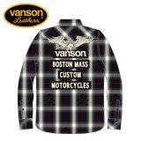 新作 VANSON / バンソン フライングイーグル オンブレチェックシャツ NVSL-808
