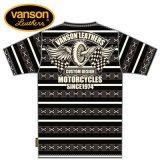 新作先行予約 VANSON / バンソン フライングホイール ジャガード半袖Tシャツ NVST-911