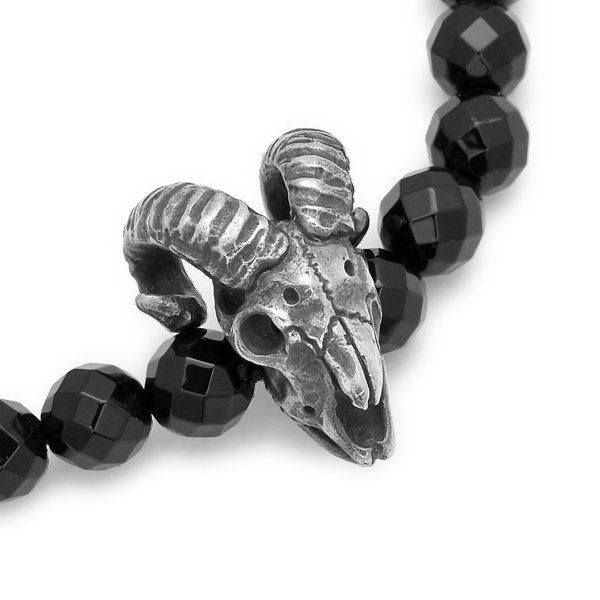 MAD CULT / マッドカルト Sheep Skull Stone Bracelet / シープスカルストーンブレスレット オニキス SB-21