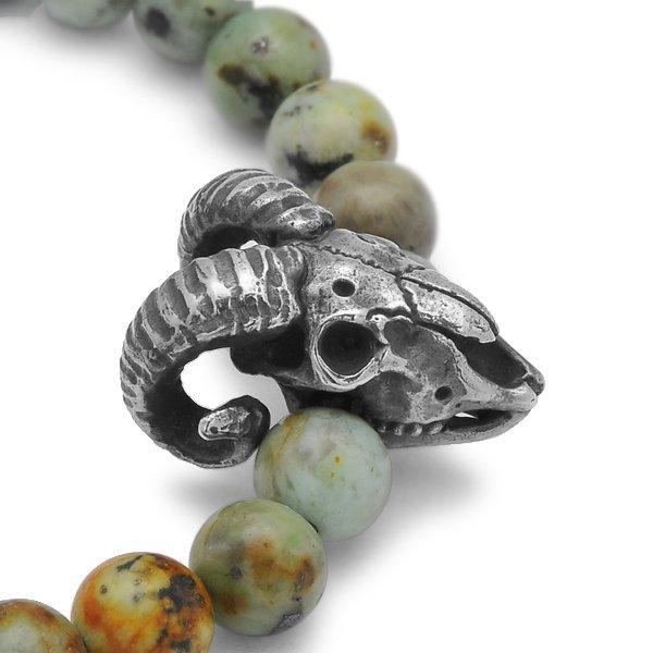 MAD CULT / マッドカルト Sheep Skull Stone Bracelet / シープスカルストーンブレスレット アフリカンターコイズ SB-21