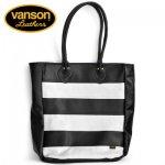 VANSON / バンソン レザートートバッグ ブラック×ホワイト 牛革 アメリカ製