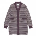 LONG BORDER CARDIGAN / PURPLE