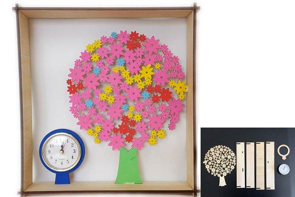 春のフラワー手作り時計