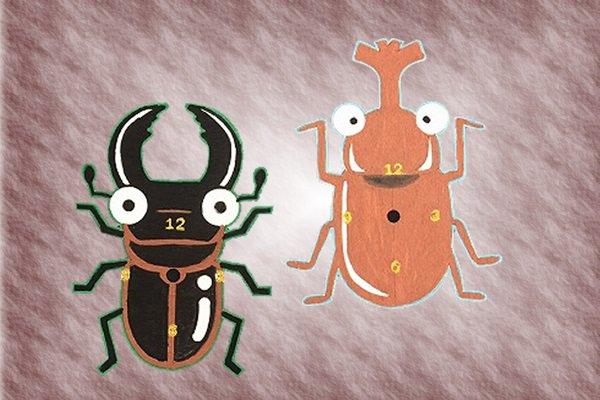 昆虫手作り木時計