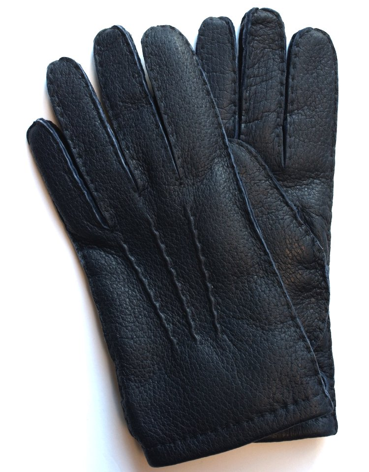 DENTS Peccary Leather Glove - Cashmere Lining / Navy