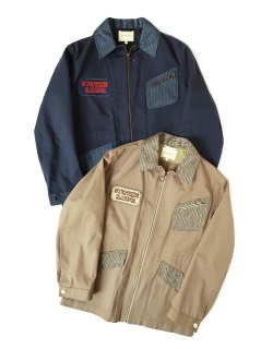 ZIP THROUGH FIELD JACKET - Cotton / Silk With Embroidery Patch