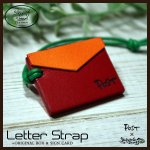 ☆メッセージが書けるレターストラップ☆(本革)オリジナルボックス、サインカード付 カラーI