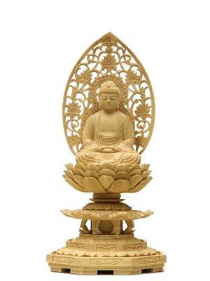 釈迦如来(柘植)(2.0寸〜3寸)【木彫仏像】