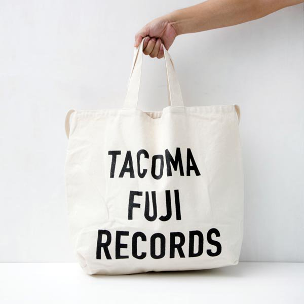 TACOMA FUJI RECORDS LETTER PRINT TOTE designed by Jerry UKAI