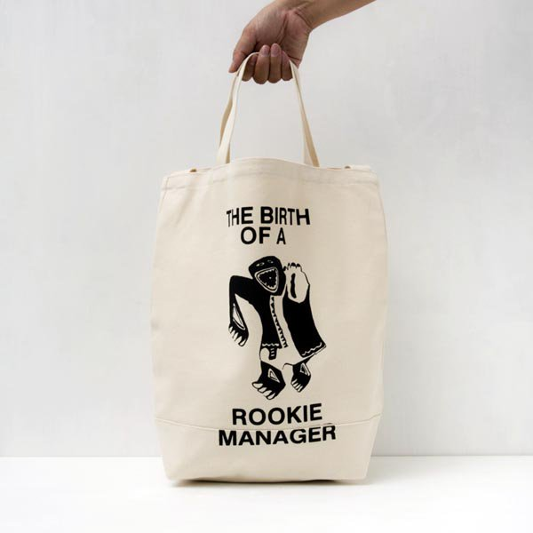 THE BIRTH OF A ROOKIE MANAGER TOTE BAG designed by Tomoo Gokita