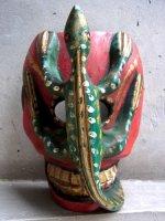 ウッドマスク 木製仮面 民芸品 [カラベラ 蜥蜴 レッド] ミチョアカン