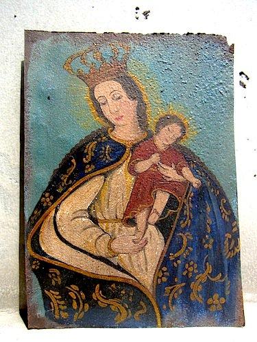 アート エクスボト 奉納画 [聖母子像 AΩ] ブリキ絵