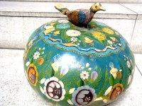 ミチョアカン 漆器 壷 [グリーン 鳥] ヒョウタン 民芸品