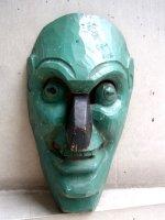 ウッドマスク 木製の仮面 民芸品 [緑男] ゲレーロ
