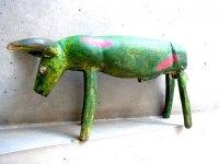 ウッドカービング 木彫り 民芸品 [緑の牛 ヒメネス工房?] ビンテージ