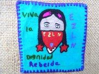 サパティスタ EZLN 刺繍 ミニタペストリー [ターコイズブルー インディヘナ]