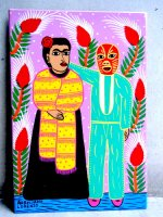 ロレンソ ファミリー メキシカンアート [フリーダ ルチャドール] 板絵画