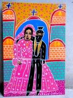 ロレンソ ファミリー メキシカンアート [ゲリラと花嫁 教会前] 板絵画