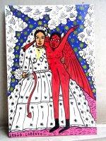 ロレンソ ファミリー メキシカンアート [ディアブロと花嫁 雲の中] 板絵画