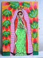 ロレンソ ファミリー メキシカンアート [頬の赤いグアダルーペ] 板絵画