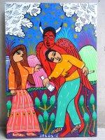 ロレンソ ファミリー メキシカンアート [ディアブロとアル中] 板絵画