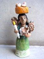 アギラールファミリー  陶人形  [パンを乗せたインディヘナ]  オアハカ