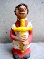 アギラールファミリー  陶人形  [十字架を抱くムヘール]  ビンテージ