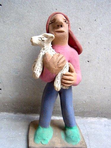 アギラールファミリー  陶人形  [パンを運ぶムチャチャ]  ビンテージ