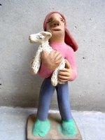 アギラールファミリー  陶人形  [犬を抱く異国人]  ビンテージ