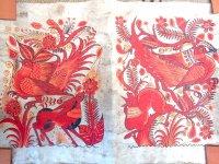 ゲレーロ アマテ 絵画 フォークアート [紅い動物たち] ビンテージ