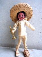 メキシコ 人形 プエブロドール [トランペットと少年 ]  used