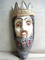 ウッドマスク 木製の仮面 民芸品 [ワニ顎の王様]  ビンテージ