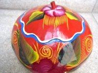 メキシコ ヒカラ 壷 [赤に花柄] ヒョウタン 民芸品