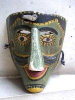サカテカス ウッドマスク 木製の仮面  [聖サンティアゴ ミドリ顔]  ビンテージ