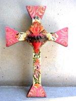 アートクロス 十字架  [ピンク&ミントグリーン コラソン ] 30cm
