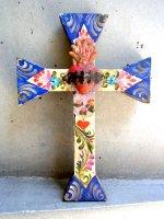 アートクロス 十字架  [ブルー&ホワイト コラソン ] 23cm