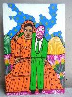 ロレンソファミリー アート [ルチャドールと花嫁] 板絵画