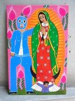 ロレンソファミリー アート [ルチャドールとグアダルーペ] 板絵画