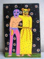 ロレンソファミリー アート [ジャガーとルチャドール] 板絵画