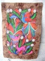 ゲレーロ アマテ 絵画 フォークアート [ウサギとハチドリ] ビンテージ