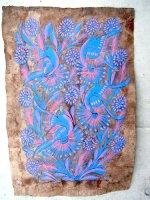 ゲレーロ アマテ 絵画 フォークアート [青いクジャク] ビンテージ