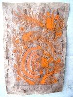 ゲレーロ アマテ 絵画 フォークアート [オレンジのクジャク] ビンテージ